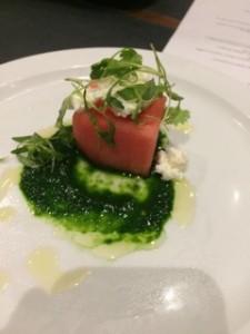 Cubed Watermelon w/ Valbreso Feta, CA Olive Ranch EVOO, Micro-cilantro couli