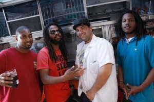 Adam Rubenstein with Chris P.,  Shaka Rock & Gyasi Gong from reggae group: BLAZEMOB