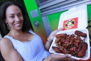 reggine from reggae chicken showing off the goods